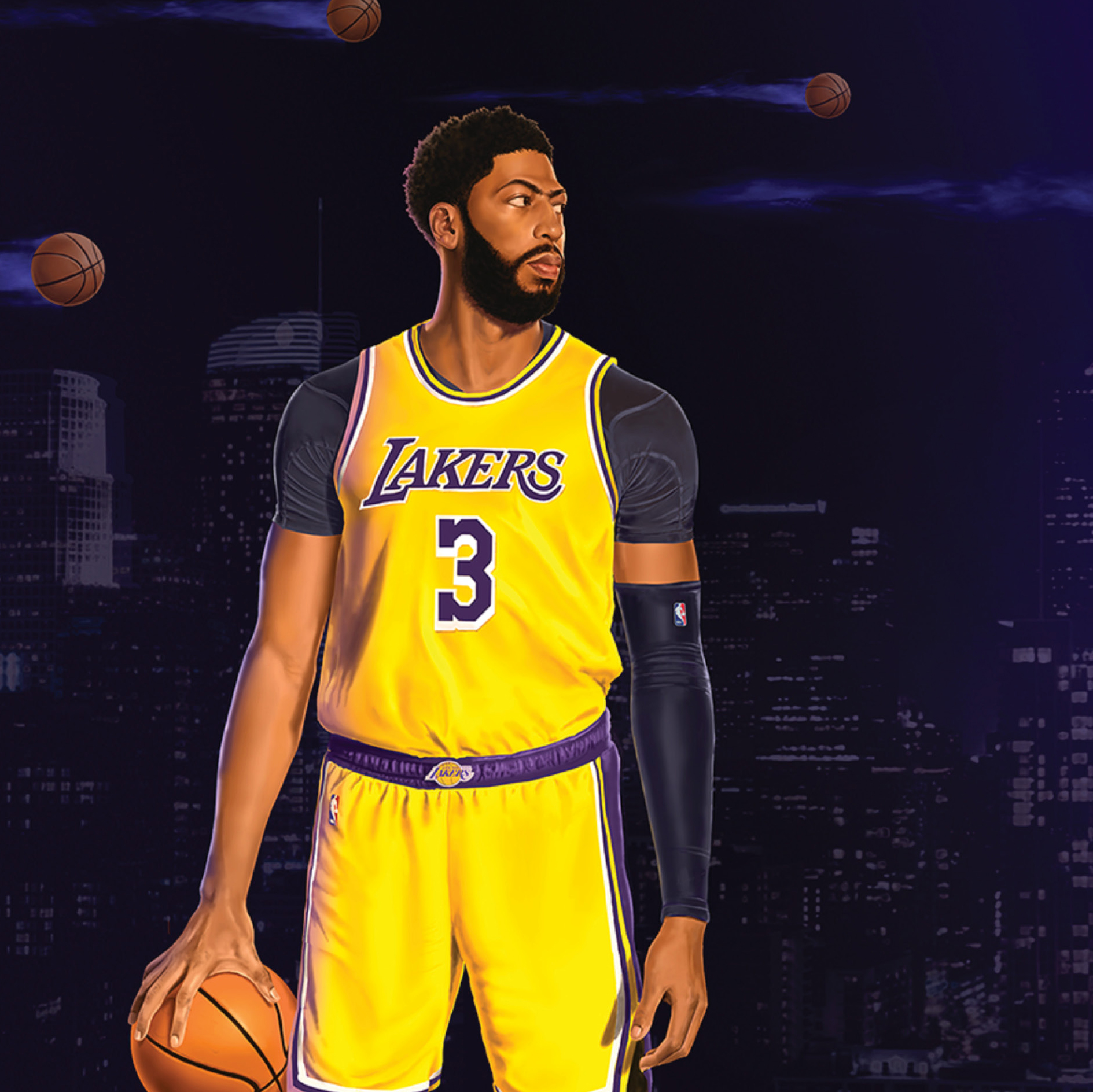 Anthony Davis holds a basketball against a deep purple LA landscape as balls speed through the air.