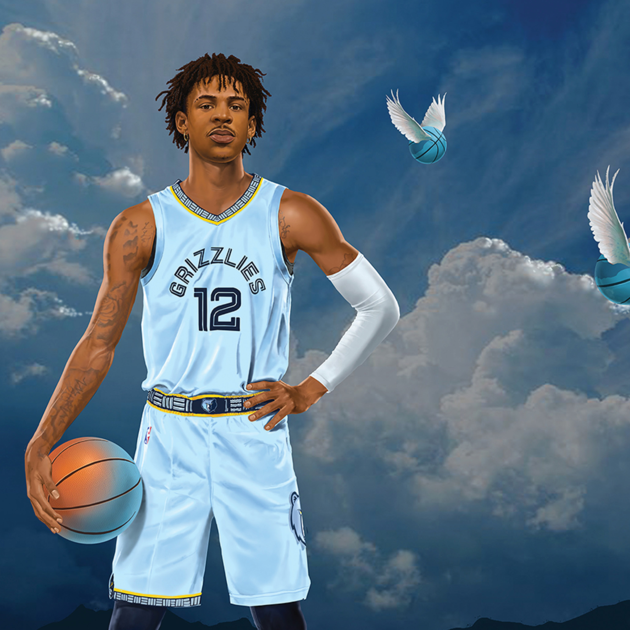 Ja Morant stands among dramatic clouds as winged, Memphis-blue basketballs fly by.