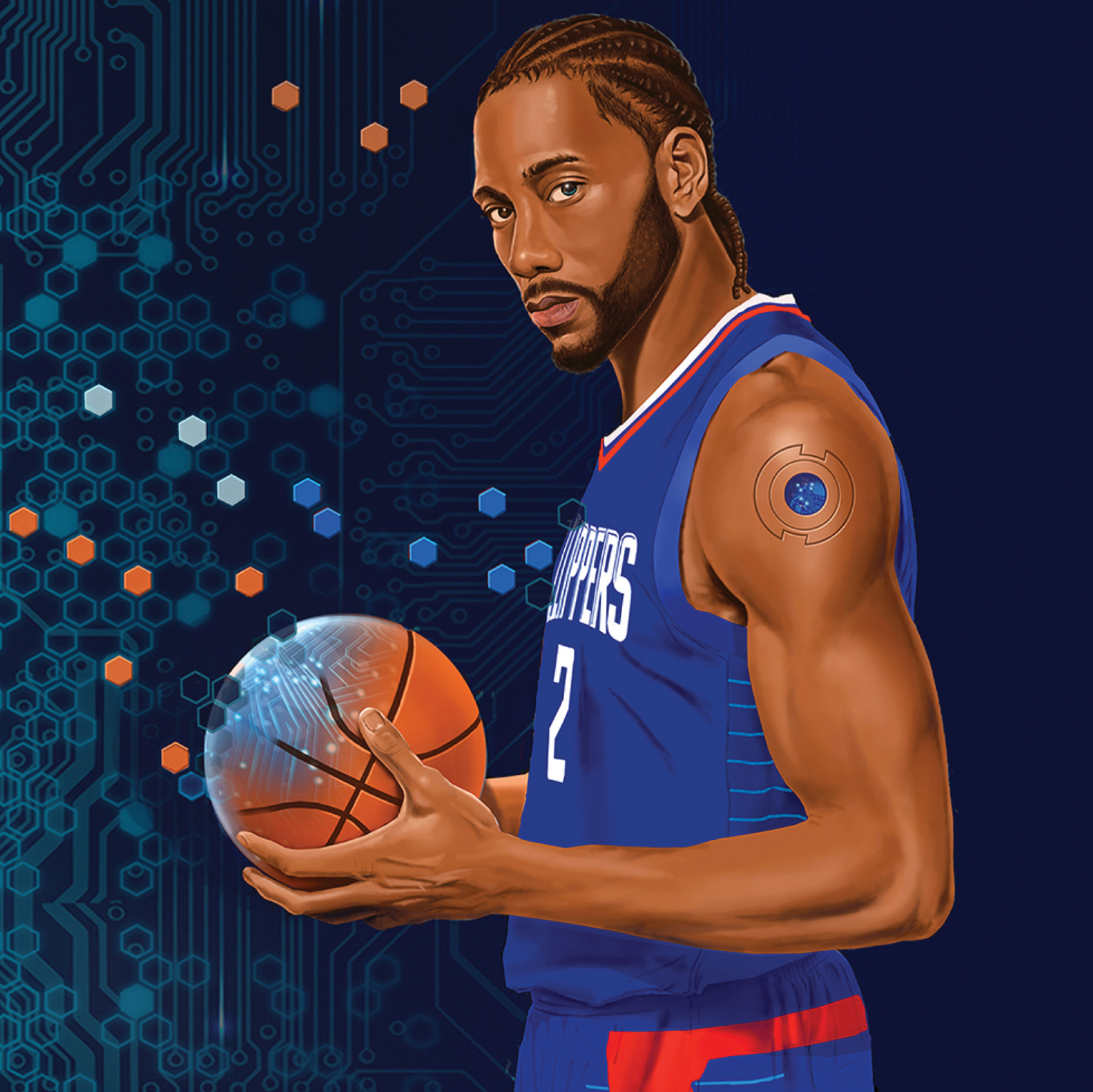 Kawhi Leonard stands with  a basketball. The basketball and Kawhi's shoulder reveal circuitry below, with additional circuitry in the Clippers-blue background.