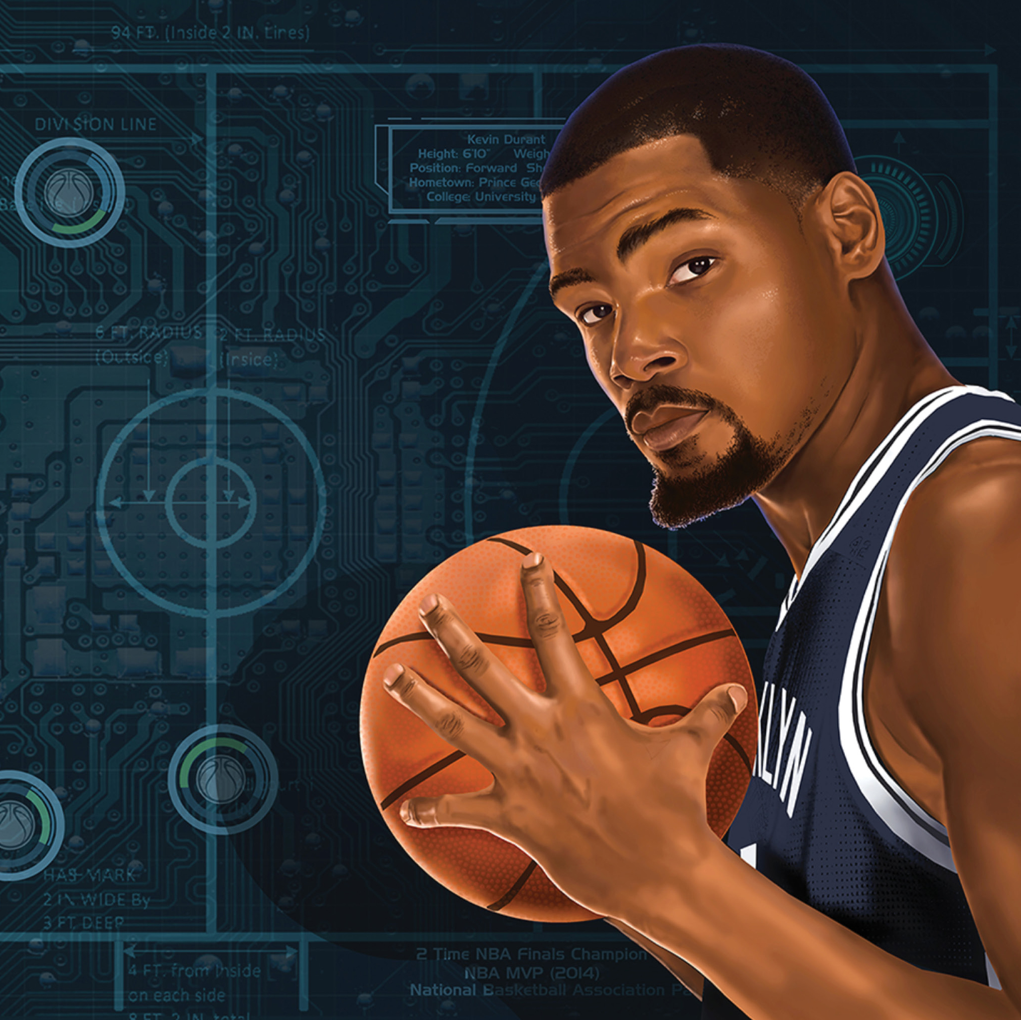 Kevin Durant holds a basketball in front of a Nets-blue circuit board/blueprint of a basketball court.