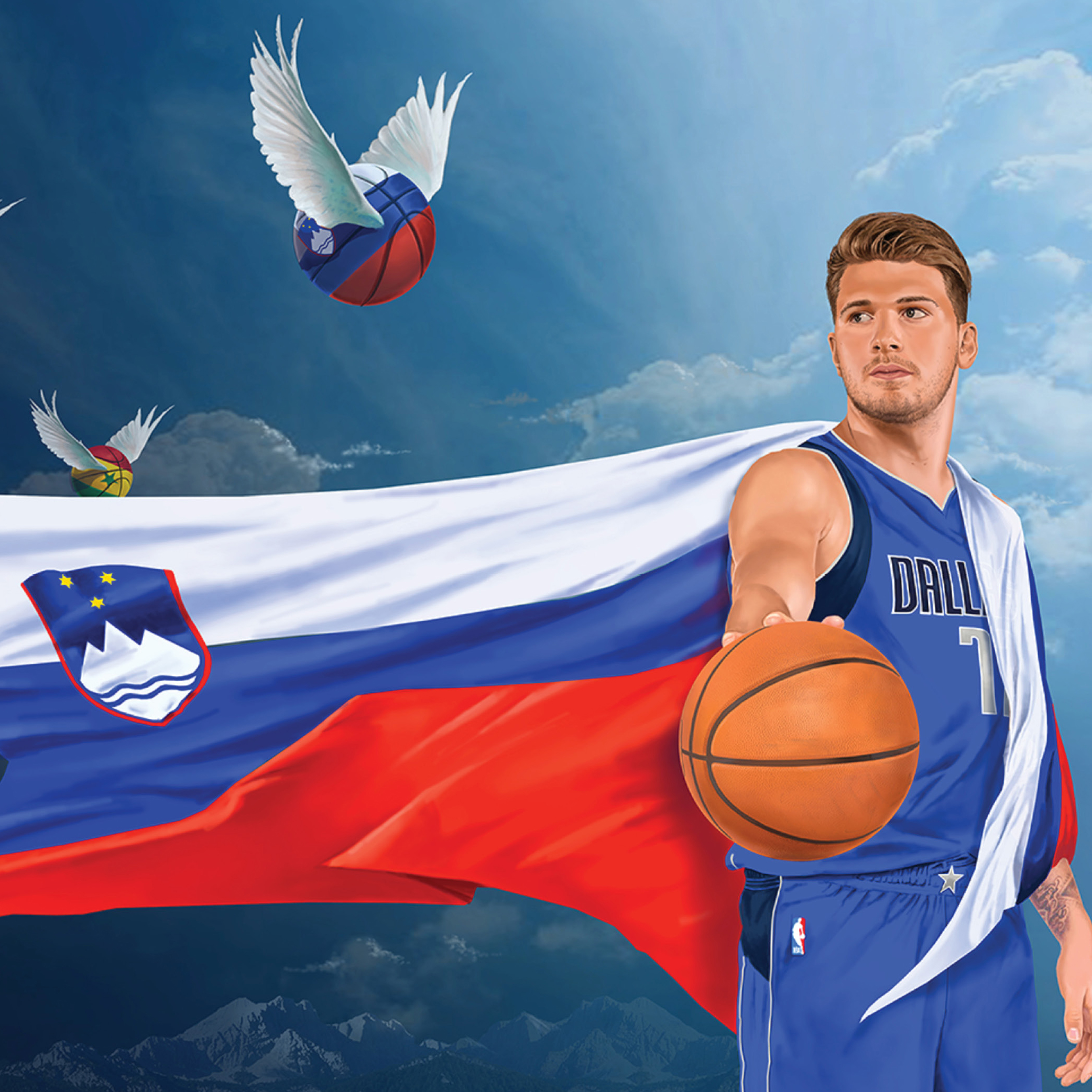 Luka Doncic holds a basketball, draped in a Slovenian flag as other internationally styled basketballs fly by in the background.