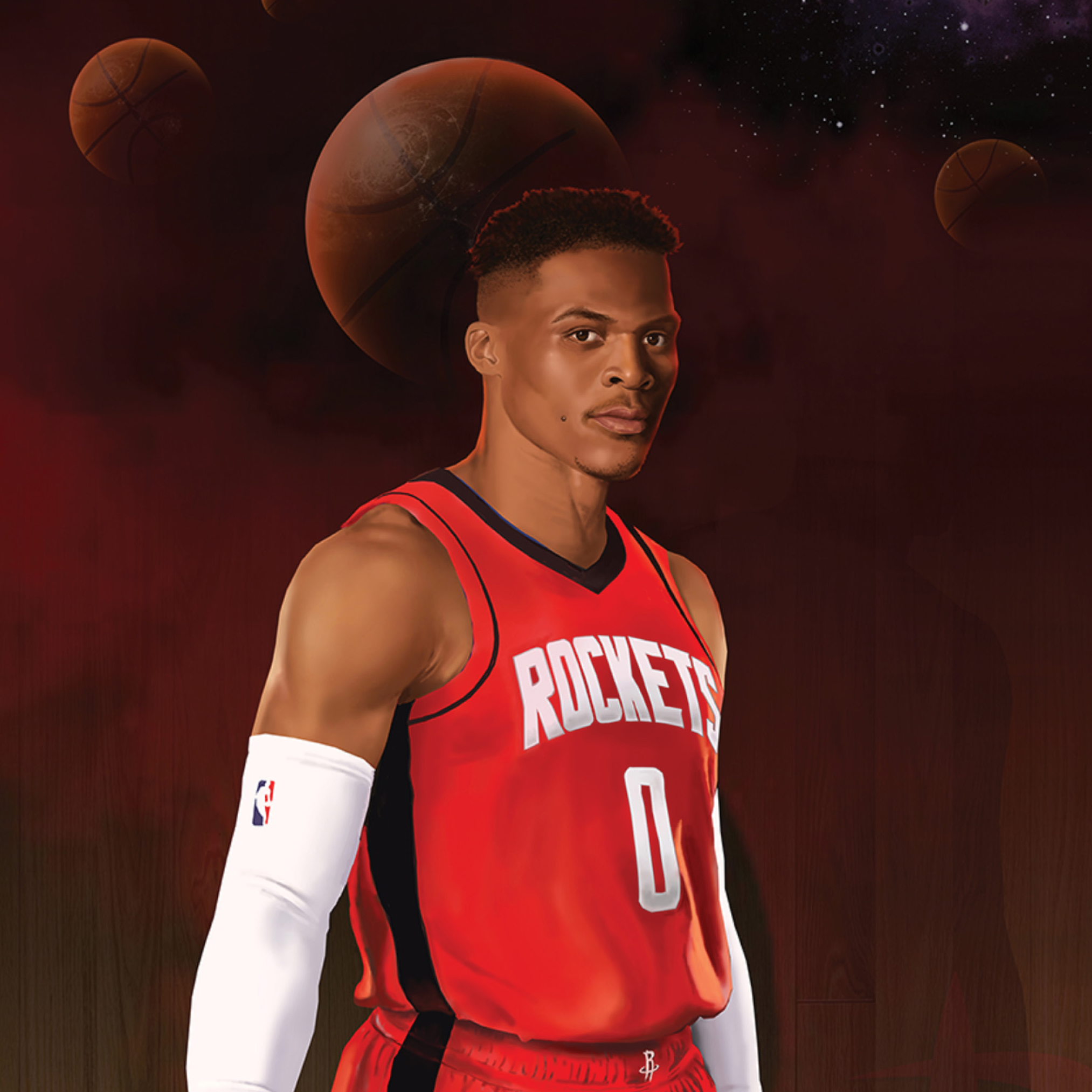Russell Westbrook stands basketball in hand, with a galaxy-like background including planet basketballs.
