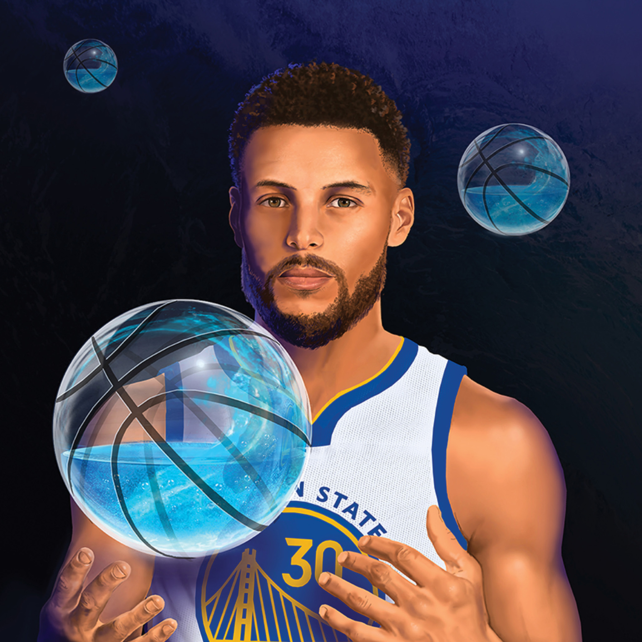 Steph Curry stands in dramatic shadow, revealing a clear basketball filled with aquamarine liquid.