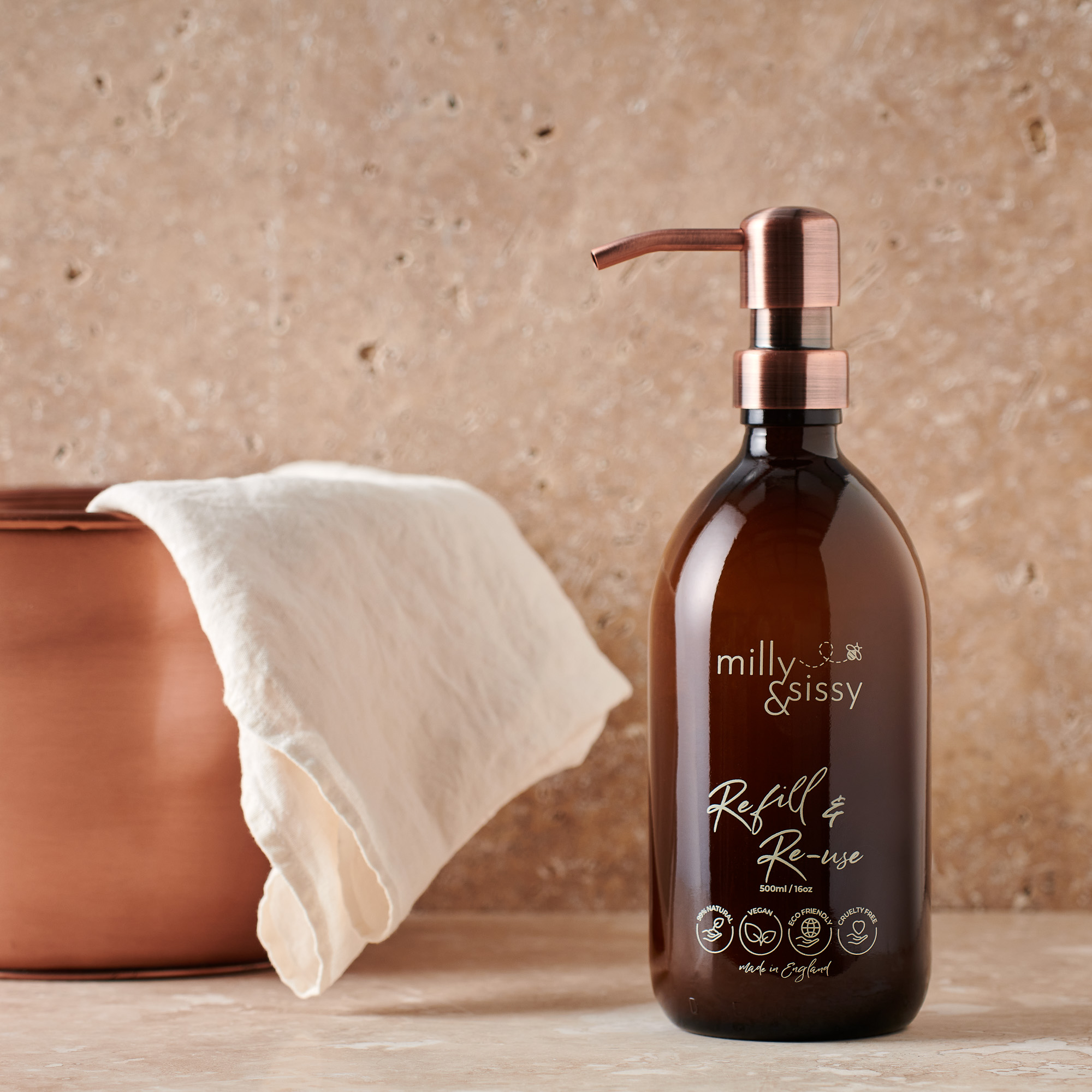 Zero Waste Vegan Hand Wash Trio + Amber Glass Bottle with Pump BATHROOM | CL Milly & Sissy
