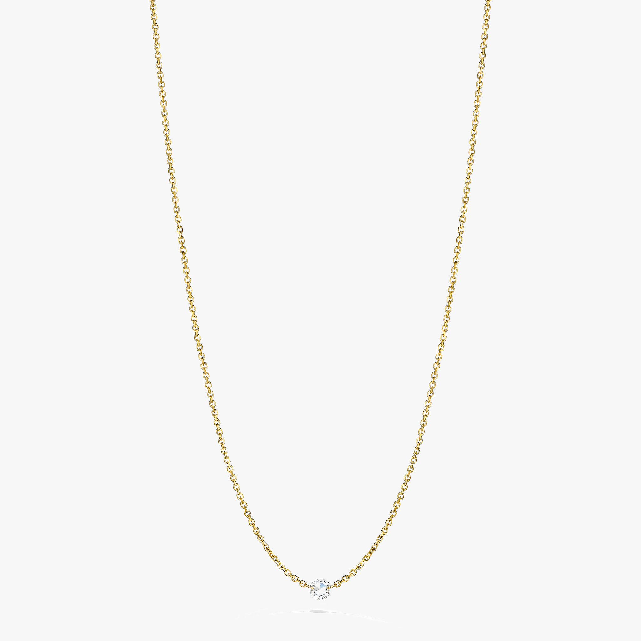 Rosette-Rose-Cut-Diamond-Station-Necklace_18k Yellow Gold