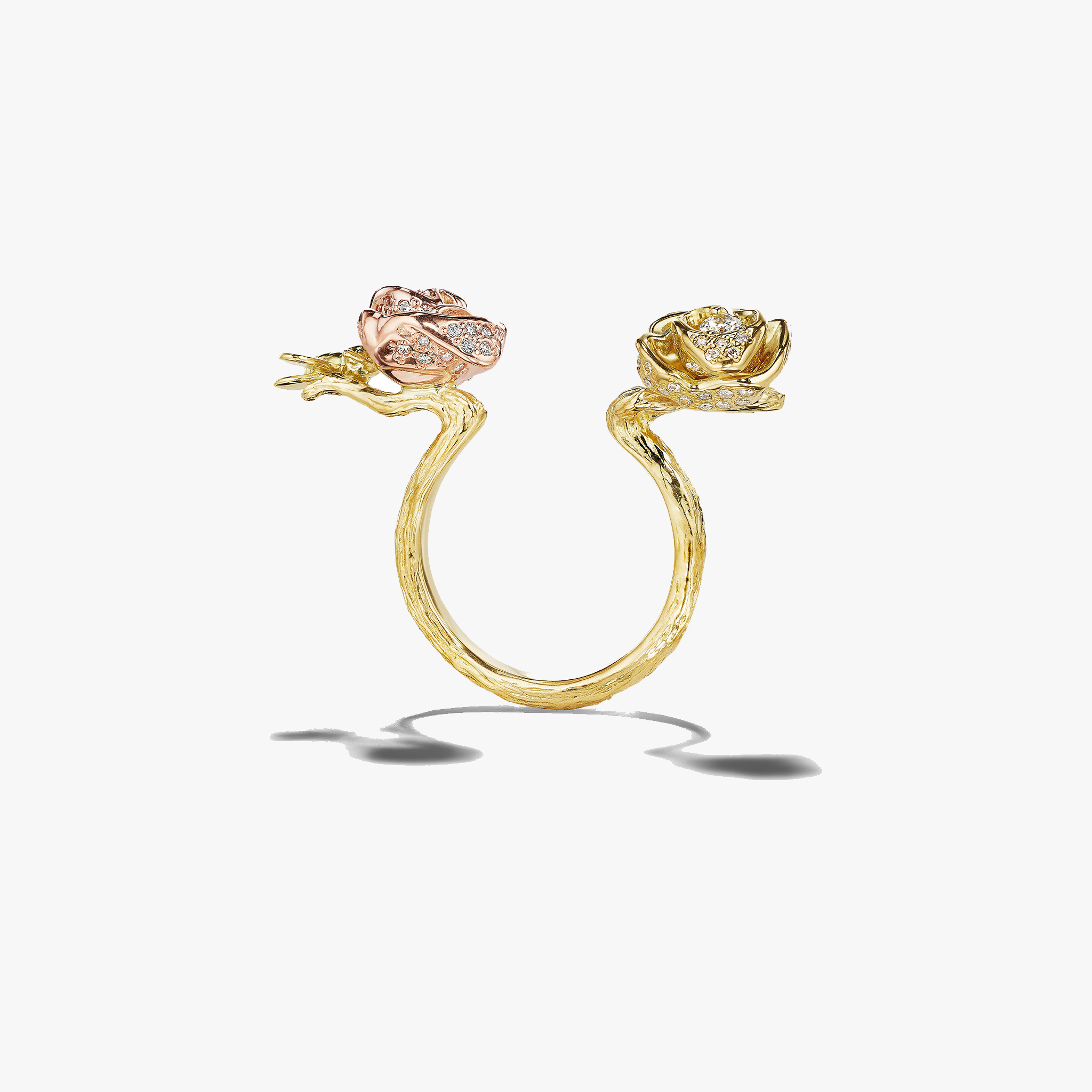 Wonderland-Bee-and-Rose-In-Between-Ring_18k Yellow/Rose Gold