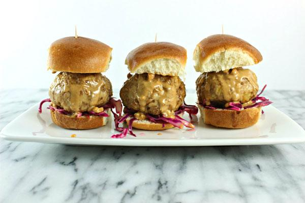 Peanut Butter Chicken Sliders with Sweet Chili Red Cabbage Slaw
