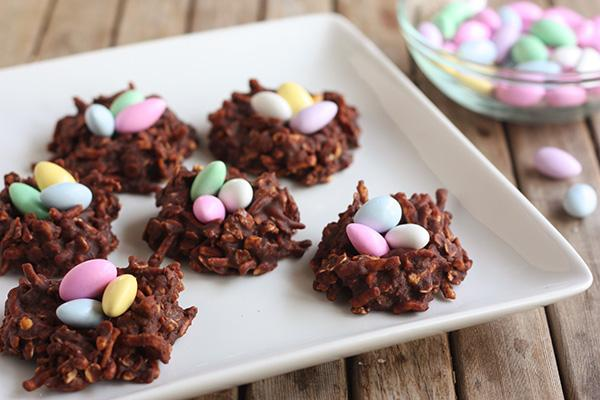 No-Bake Chocolate Peanut Butter Easter Nests