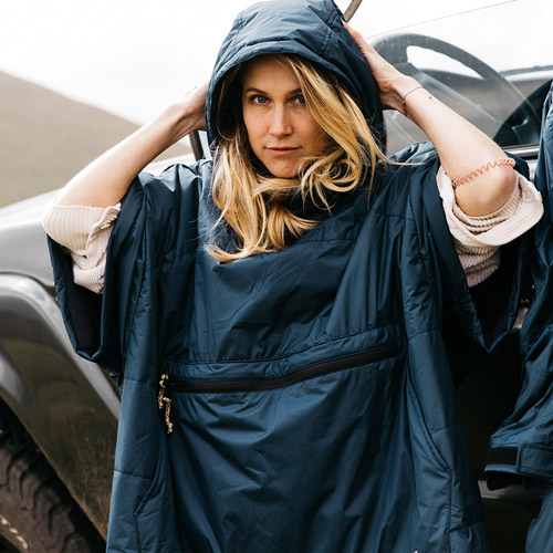 OUTDOOR PONCHO FOR SURFING, CAMPING, VANLIFE & EXTREME SIGHT-SEEING OCEAN NAVY