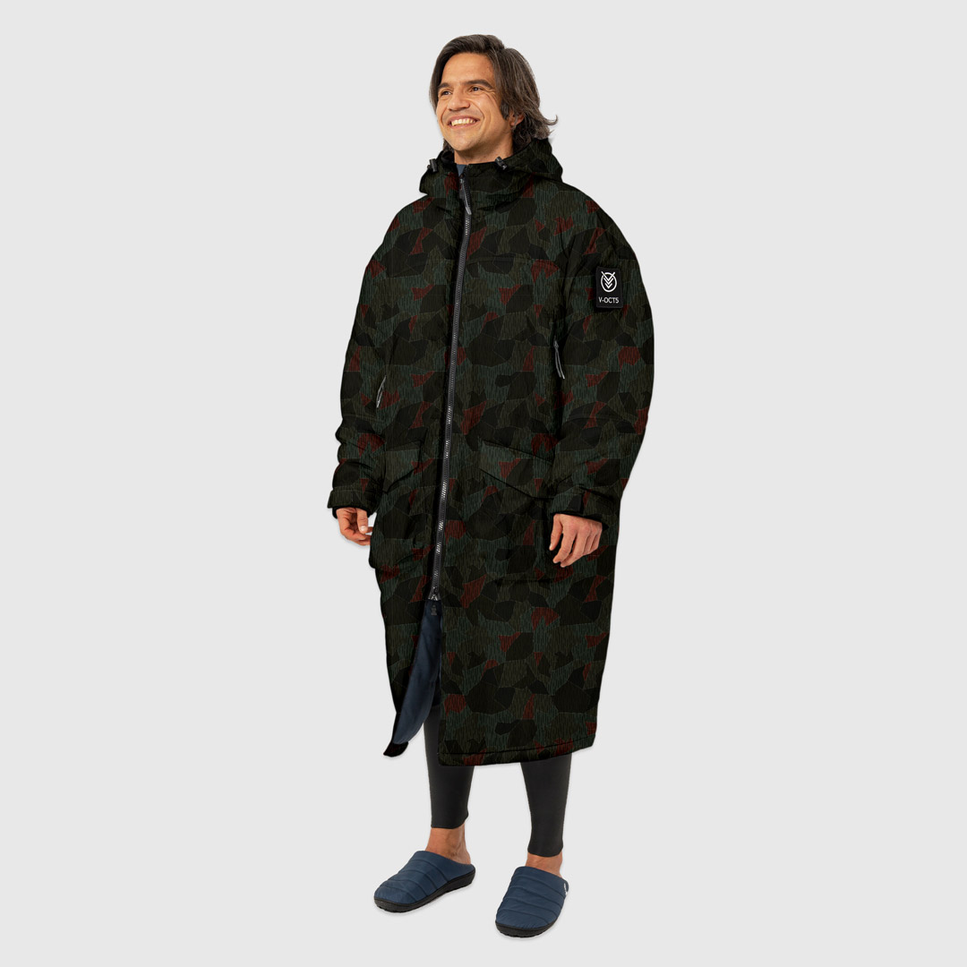 OUTDOOR CHANGE ROBE & DRYCOAT FOR SURFING, CAMPING, VANLIFE & EXTREME SIGHT-SEEING MOMENT CAMO